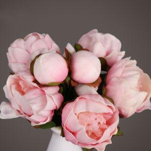 シャクヤクの装飾的な人工花の6つのヘッド束、擬似ピンクの花、ピンクの人工花