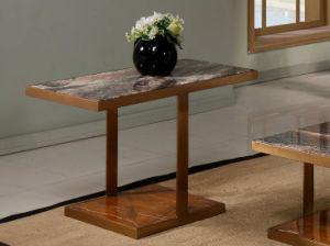 Mesa de café de la plaza con la naturaleza, encimera de mármol y la base de acero inoxidable