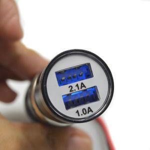 알루미늄 금속 비상사태 안전 망치 탄알 이중 USB 차 충전기