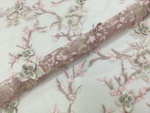Alibaba SGS certificadas de alta qualidade bordados PERSONALIZADOS 3D Flower Lace Suite Fabric com pérolas naturais