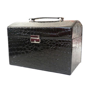 عظيمة أسود [بو] جلد مستحضر تجميل صندوق مجوهرات يعبّئ صندوق