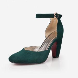 Lady sangle de cheville ronde vert chaussures Toe