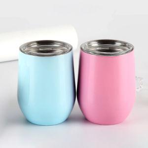12oz, tazze riutilizzabili isolate doppie della chiavetta del vino dell'uovo del metallo dell'acciaio inossidabile 8oz con i coperchi per le bevande, tazza di caffè