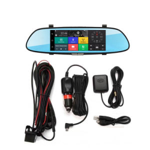 C08 7'' da tela de toque Dashcam Aluguer de carro da Câmara Retrovisor Dual DVR 3G GPS Android Dash Cams Cartão SIM