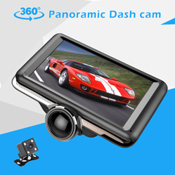 5 pulgadas panorámica de 360 grados de la leva de guión de 1080p con doble lente FHD coche DVR cámara de vídeo