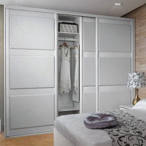 Vidro corrediço de couro branco moderno Oppein Armário de madeira (YG21137)