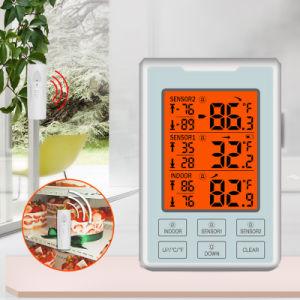 Termómetro exterior interior precisas com medidor de humidade sem fio e iluminação de fundo