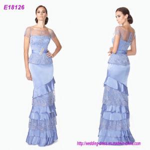O Short mergulhado azul do laço Sleeves o vestido da princesa Tarde Por atacado senhora noite