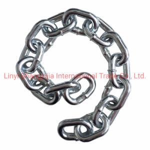 Corto soldada de acero galvanizado estándar DIN766 Cadena de eslabones de cadena de eslabones de la ronda de la cadena de 6mm con bolsa de yute
