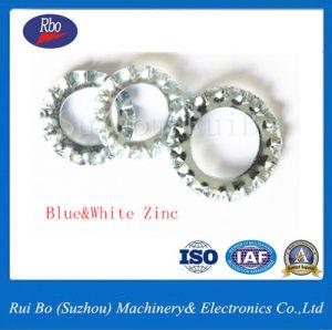 L'ISO le bleu et blanc de zinc6798DIN une rondelle de blocage dentelée externe