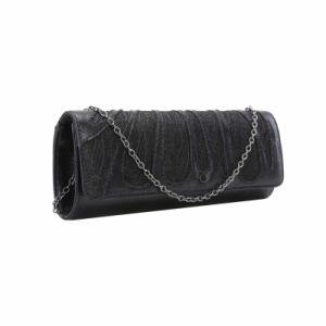Negro floral delantero del bolso de embrague (MBNO041144)