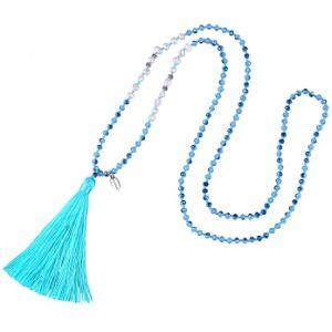 Borla larga hecha a mano Collar de Concha Collar de perlas de cristal de la perla de la mujer