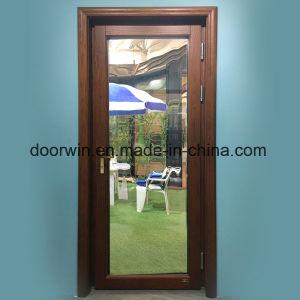 Portello del patio di legno di quercia con rivestimento di alluminio da all'esterno, portello provvisto di cardini del legname
