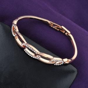 最新のラインストーンのローズの金の方法簡単な合金のブレスレットの腕輪