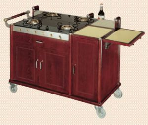 Moveable Flambe Trolley (stone surface)