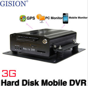 3G Mobile DVR, 4 Channel Hard Disk Car DVR, Real-Zeit Monitor, GPS Track, Alarm, Support PC, iPhone, Android Phone, Mdvr