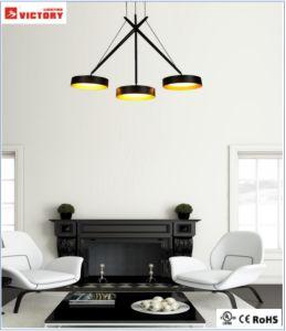 Venta caliente Ronda Popular LED de aluminio negro iluminación colgante