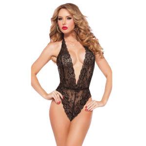 2017 Dia dos Namorados lingerie sexy preto vermelho quente Lace Deep_V Pescoço Teddy Sexy lingerie sexy Lenceria Lingerie erótica fantasias