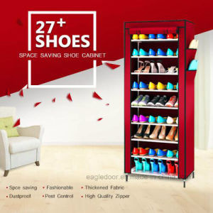 Nivel 9 estantes de la zapata de tela de lienzo de Armario de  almacenamiento Rack Zapatos Zapatos de ferrocarril de cremallera Sapateira  permanente ... 1898a072eff4