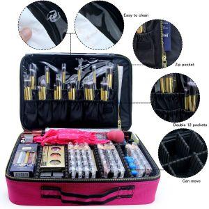 Cas de maquillage de Voyage Sac de maquillage cosmétiques organisateur professionnel de boîtes de maquillage (grand rose)