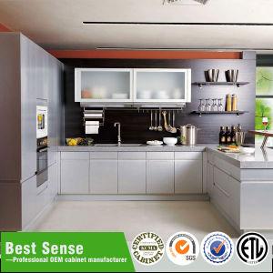 Gabinete de cozinha de madeira moderno Home clássico do MDF do bloco liso