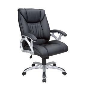 黒いカラーPU革マネージャの旋回装置のオフィスの椅子(FS-8714B)
