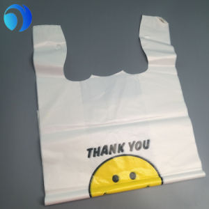 Personnaliser l'impression/LDPE HDPE PE Plastique visage souriant Merci Shopping supermarché magasin Environment-Friendly compostable biodégradable Mall de sacs de T-Shirt