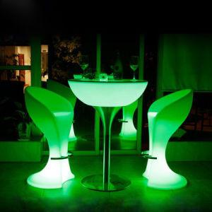 賃貸料の表および椅子のためのプラスチックLED高い表