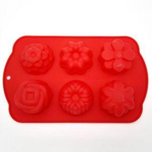 Grau alimentício 6 Cup Flor Bolo de silicone para Bakeware do Molde