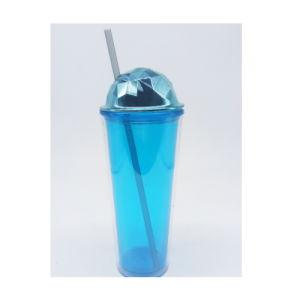 二重壁の丸いボールの形のプラスチックわらのコップ