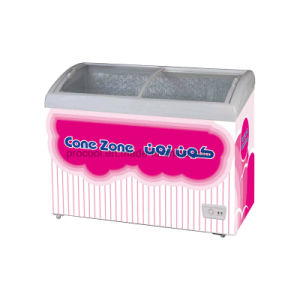カーブガラスのドアが付いているアイスクリームの箱のフリーザー