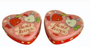La glándula en forma de corazón rojo tin box para Bombones