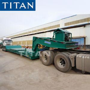 Titaan 80 Ton 3 Gooseneck van de As de Hydraulische Verwijderbare Aanhangwagen van Lowboy voor Verkoop
