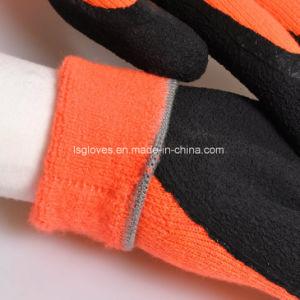 Espuma de látex preto Palm revestidos a borracha de trabalho de segurança do trabalho de prevenção luvas do lado frio no Inverno