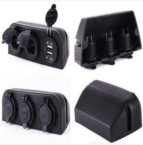 Tres Marine divisor de Mechero adaptador de corriente cargador USB y sockets