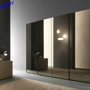 La fabrication de verre peint noir armoire porte coulissante