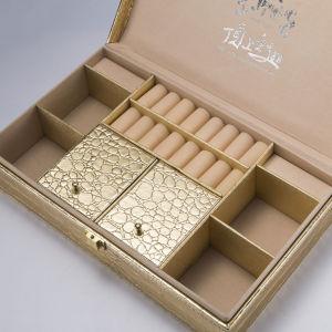 De Doos van de Gift van de Vertoning van de Verpakking van de Juwelen van het Leer van Glod Pu van de luxe met de Scharnier van het Metaal