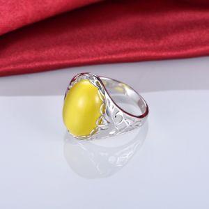 Moda 925 Anillo de Plata con amarillo Cubic Zircon