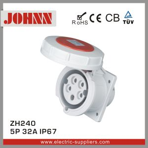 IP67 5p 32A droit à des fins industrielles embase à montage panneau