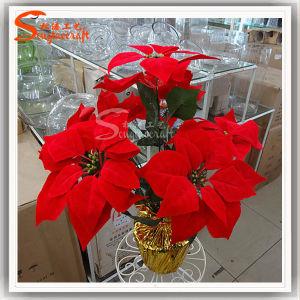 Venda por grosso de flores artificiais flores de plástico barato para Decoração de Natal