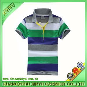 형식 4 색깔 면 직물 줄무늬 남자 폴로 셔츠