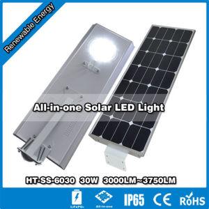 30W-6030 Ht-Ss Hitechled Smart en una sola calle Solar Integrada/Jardín de luz LED de Jalan Lampu todo en uno