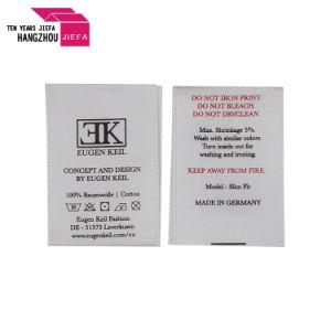 供給の黒いサテンの印刷のラベル、洗浄取扱表示ラベル