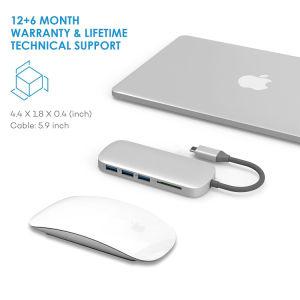 USB de Hub van de Adapter van het Type C met 6 Havens voor MacBook Pro 2015/2016, Google Chromebook 2016/2017 en Meer Apparaten van USB C