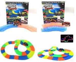 Carro mágico com trilha luminosa e mais acessórios para miúdos
