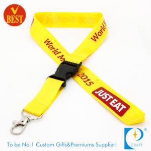 カスタム最もよい販売法の方法中国からのトリガークリップバックルリリース2接続機構が付いている光沢がある黄色い首の締縄