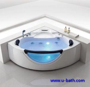 Oferta 2 personas de la esquina de cristal de bañera de hidromasaje con LED luz inferior