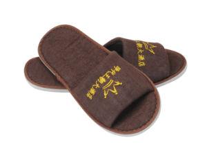 Brown Terry Open Toe broderie logo 5mm EVA Sole Hotel Slipper