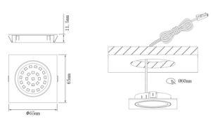 Banheira de venda no mercado europeu de alumínio 2W Luz do painel de LED de forma quadrada com marcação RoHS