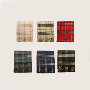 人によって編まれる柔らかい小切手のスカーフ